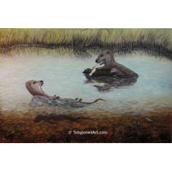 Otters with Trout - Original