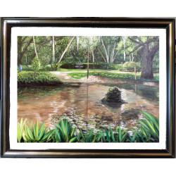 Framed Koi Pond Print -...